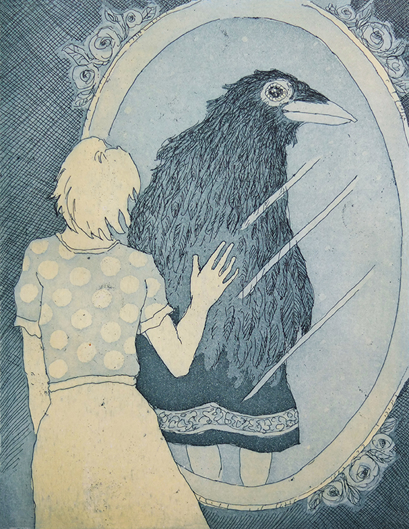 Looking into a mirror and recognising bird